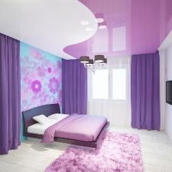 Фиолетовый комбинированный потолок в Гомеле
